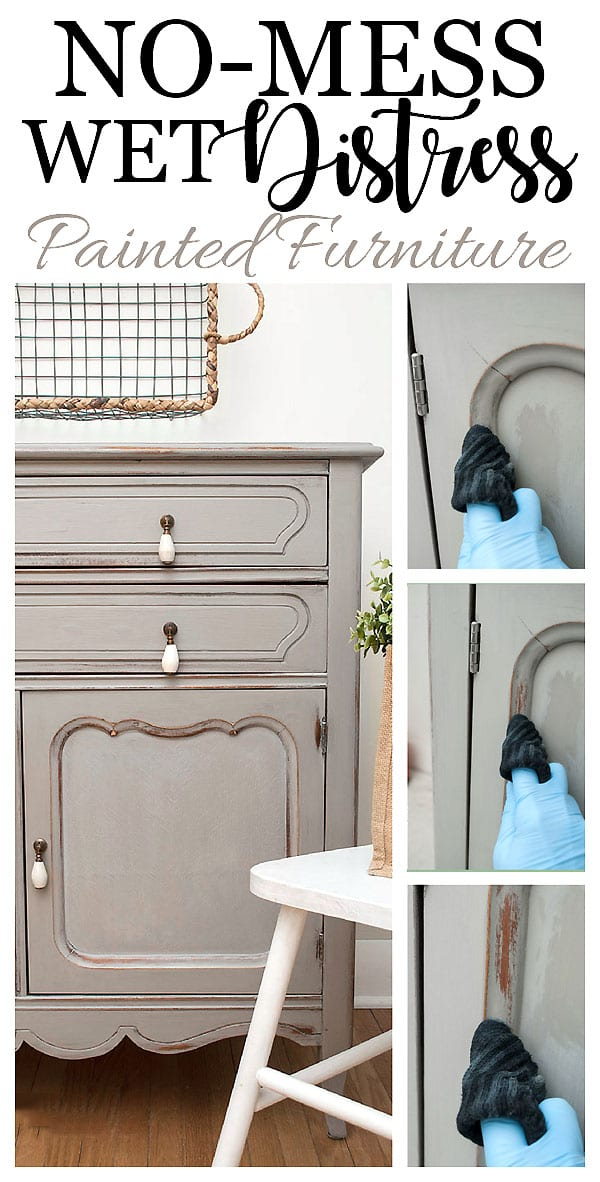 No Mess Wet Distress Painted Furniture Tutorial