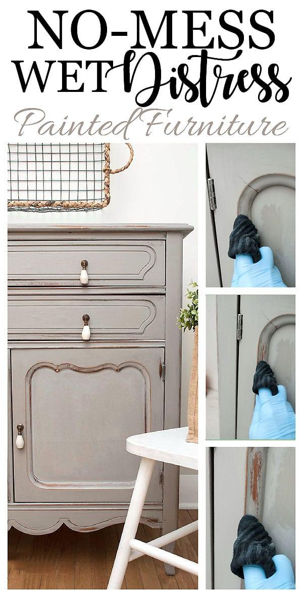 No Mess Wet Distress Painted Furniture Tutorial