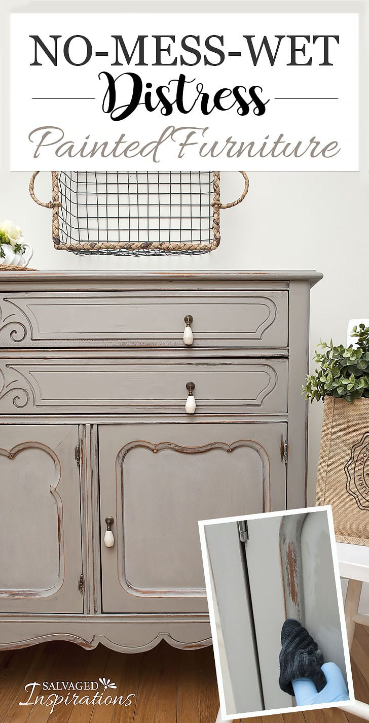 Thrift Store Sideboard - No Mess Wet Distress Tut