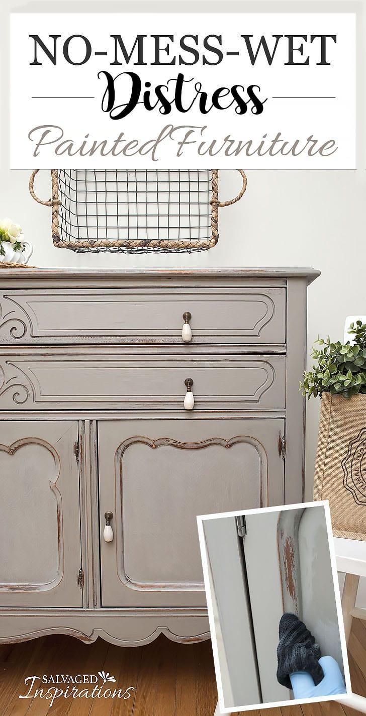 Thrift Store Sideboard - No Mess Wet Distress Tut - No Mess Wet Distress Painted Furniture - Salvaged Inspirations