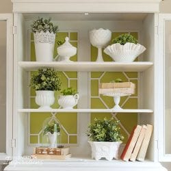 Inside of China Cabinet with Milk Glass