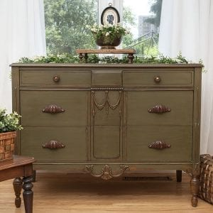 AS Olive Vintage Dresser Detailed with Rub'nBuff