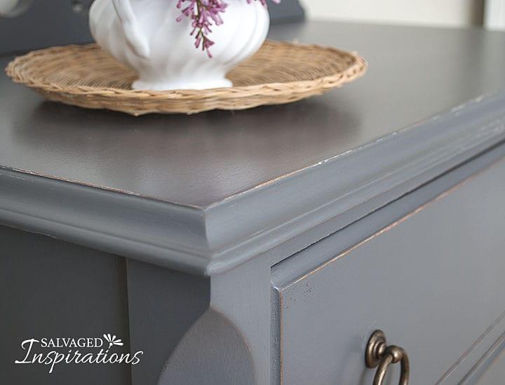 Corner of Dark Grey Painted TallBoy