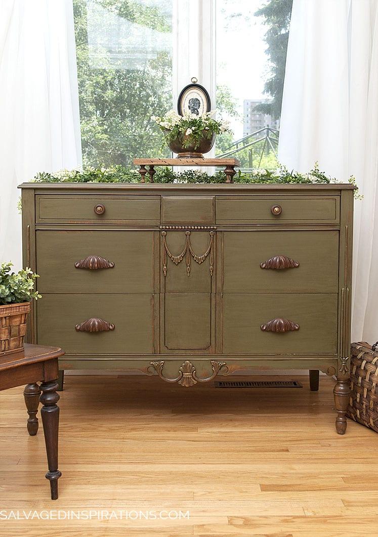 SI Blog - ReStyled Vintage Olive Dresser