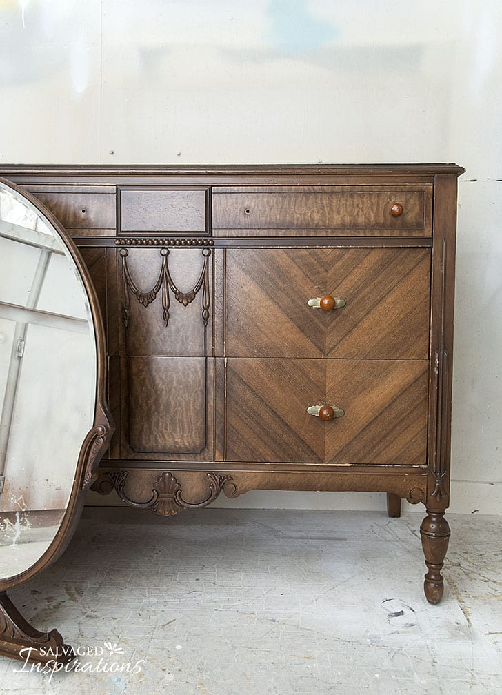 Vintage-Deco-Oakv-Dresser-w-Mirror-Before