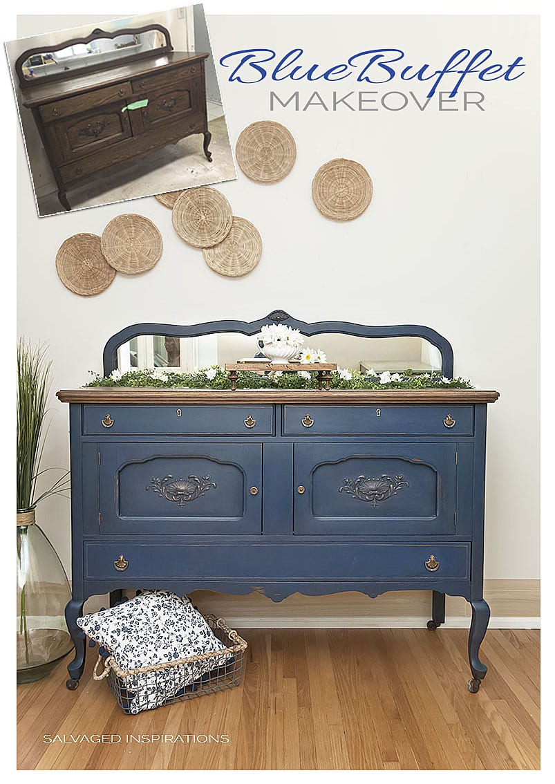 Blue Painted Buffet Makeover- SideBoard