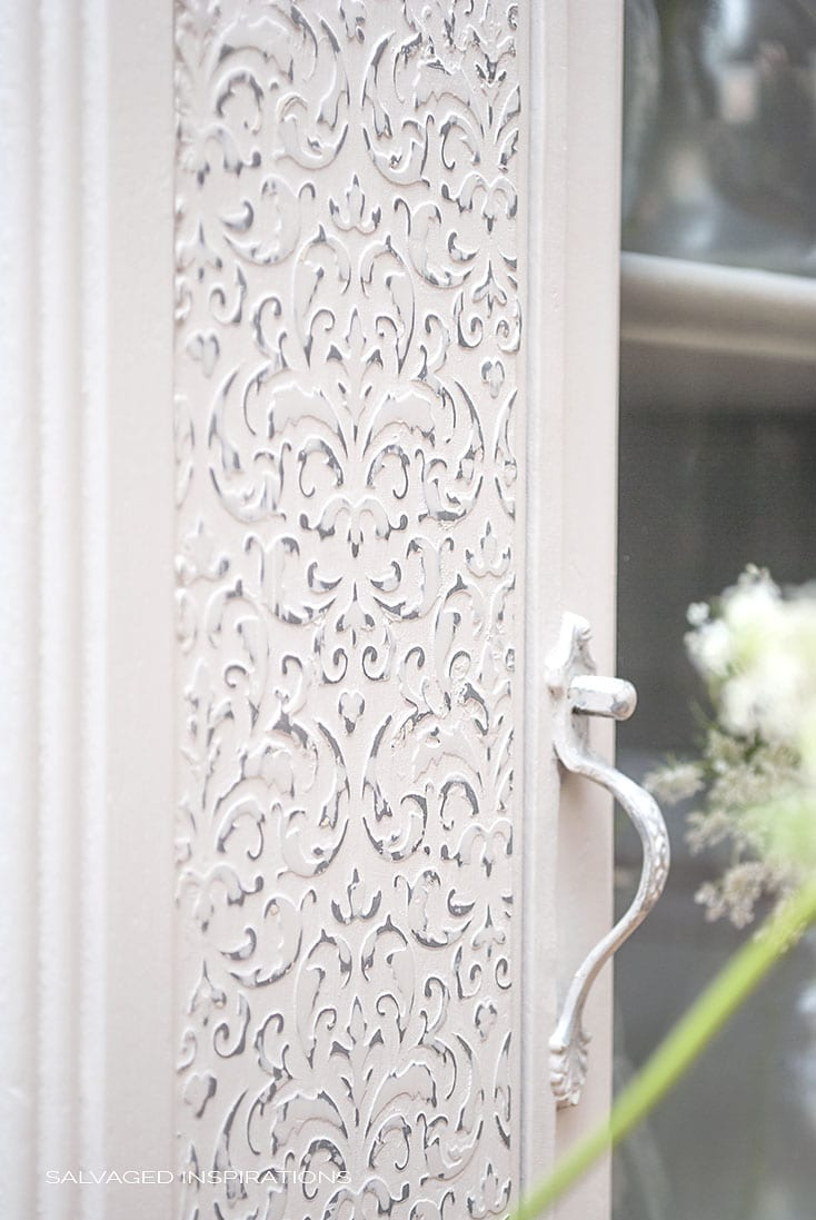 Close Up of Raised Stencil on Cabinet | Salvaged Inspirations