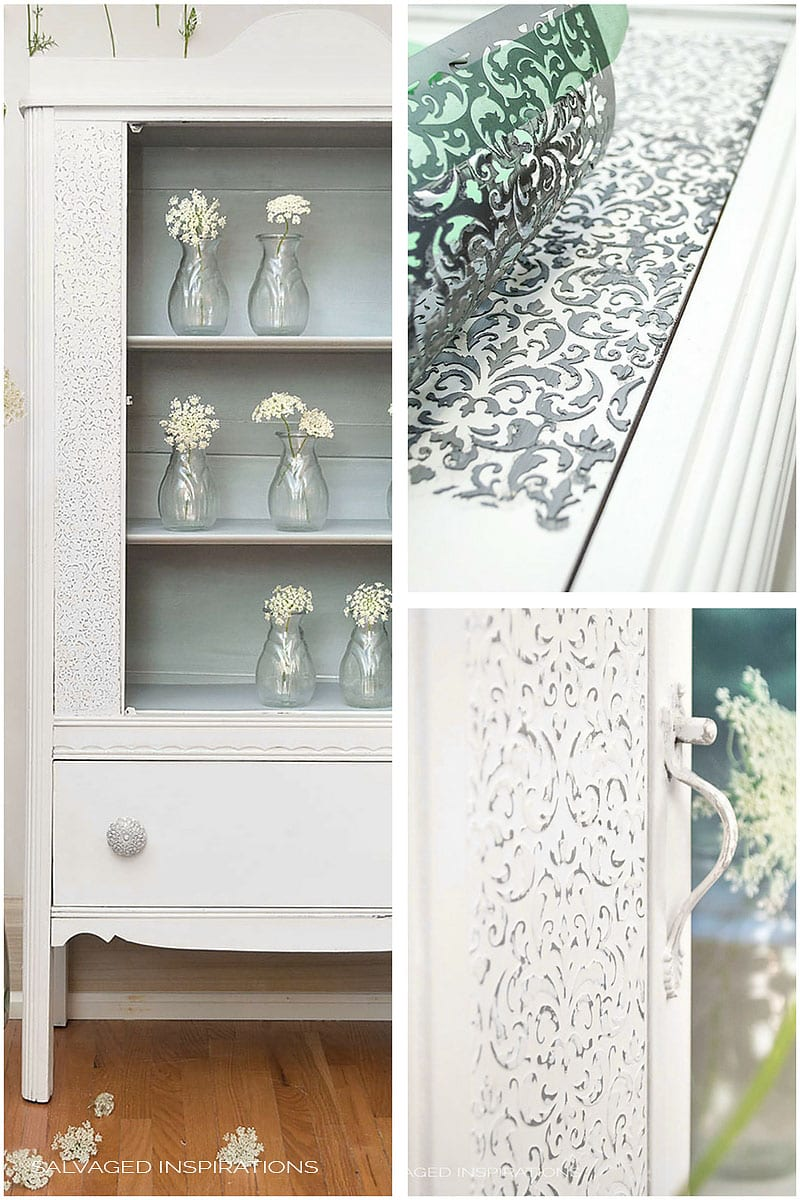 How To Create Raised Stencil Designs Goodwill Cabinet