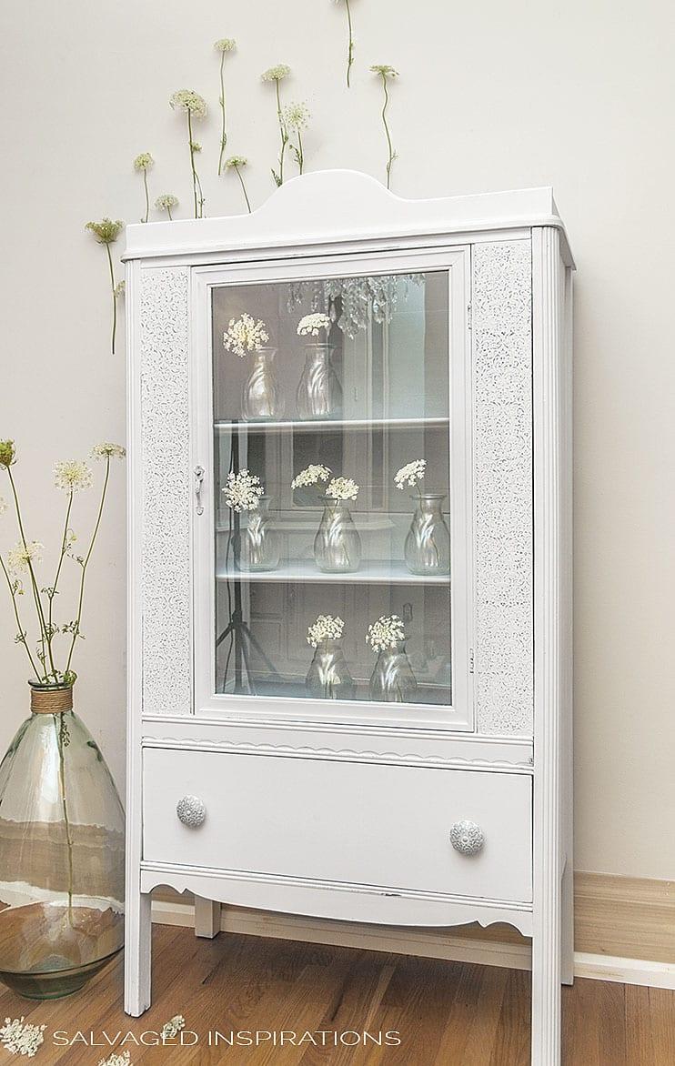 Queen Anne's Lace Raised Stencil Cabinet