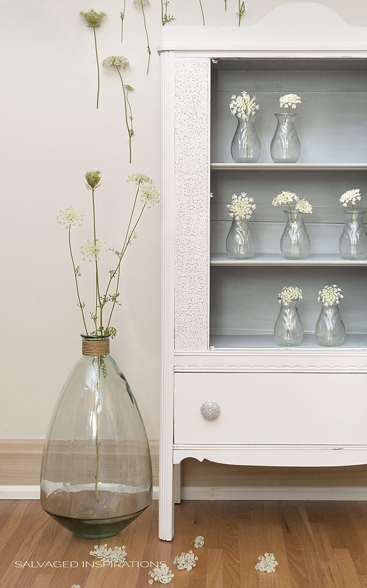 Raised Stencil Cabinet Painted in Dixie Belle Fluff