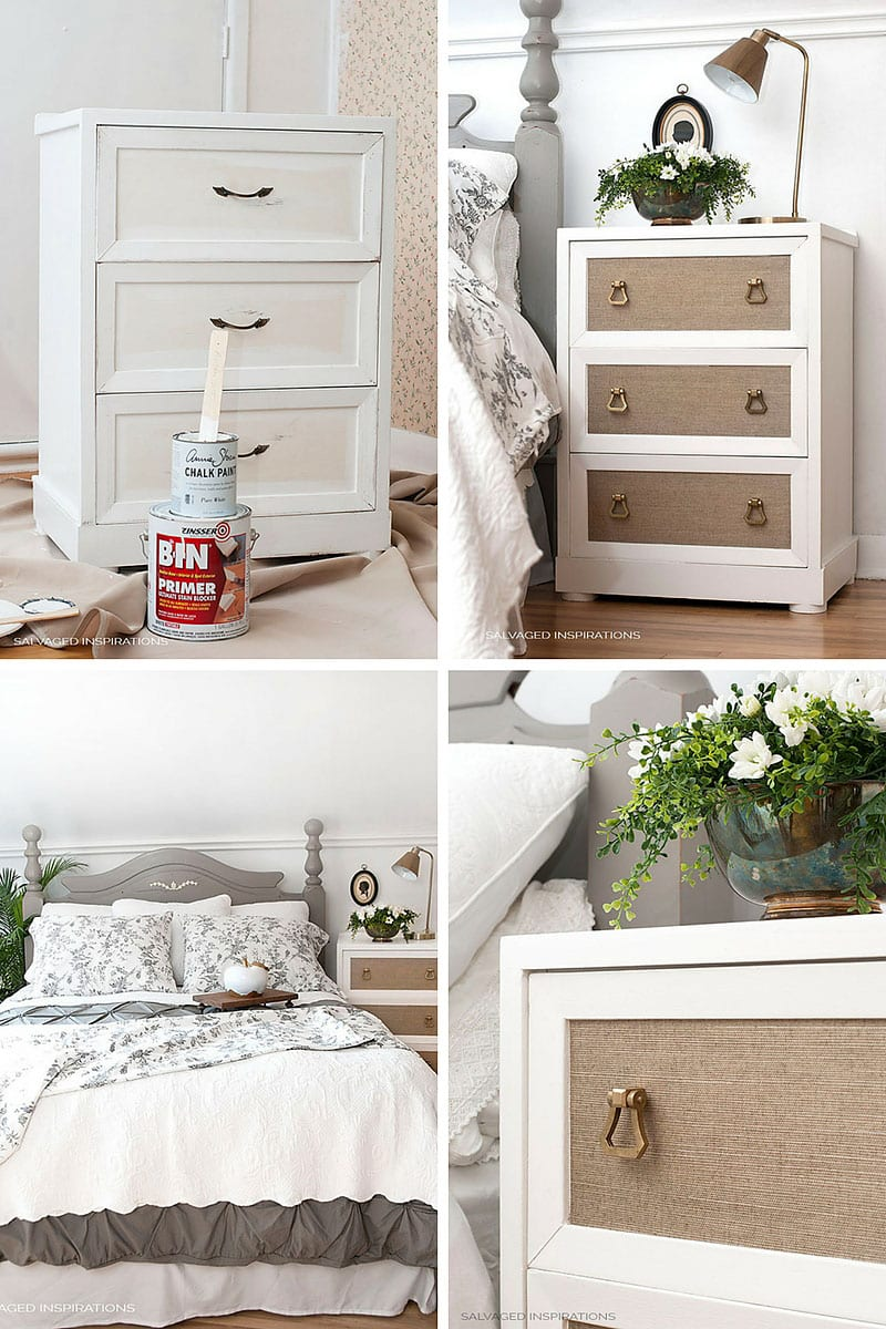 Adding Wallpaper to Salvaged Night Stand - Before & After copy