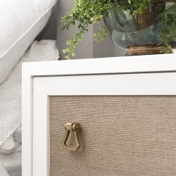 Grasscloth Wallpaper on Painted Nighttable Drawer Panel