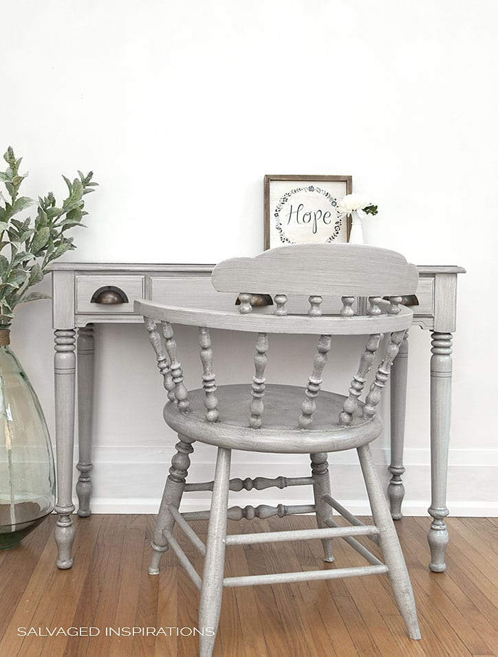 Grey Painted-Glazed Desk and Chair w Poly and Wax Topcoat