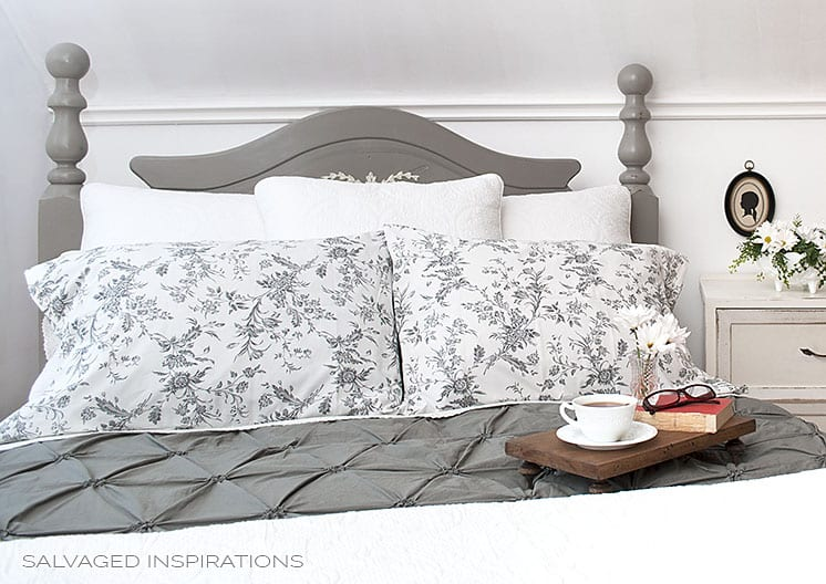 Master Bed Makeover W Painted Salvaged Head Board Save. Annie Sloan French  Linen ...