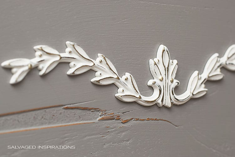 Painted Brass Applique on Salvaged HeadBoard