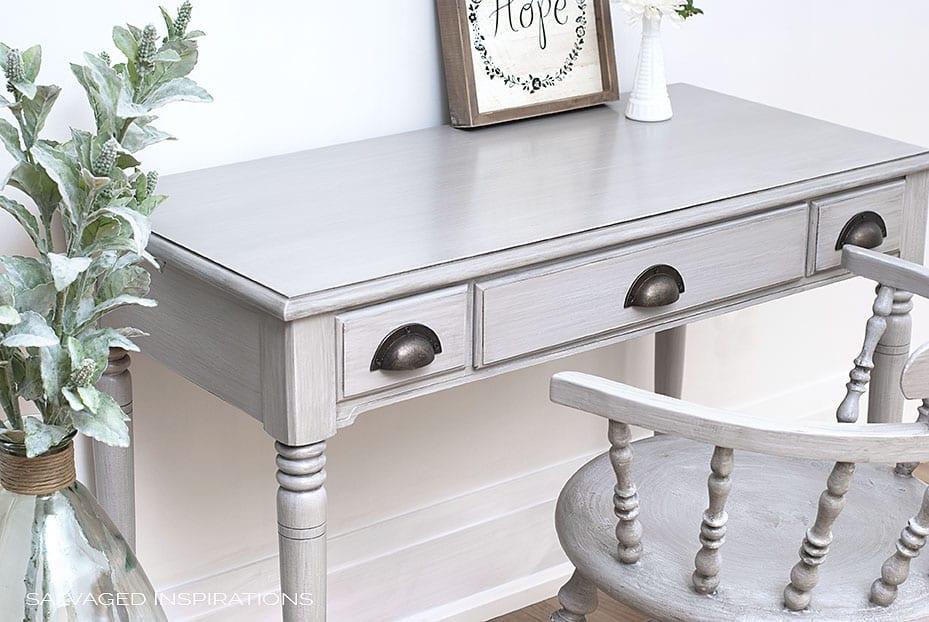 Painted Desk w Glaze, Poly and Black Wax