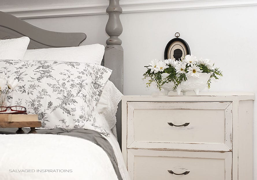 Salvaged Headboard & Night Table
