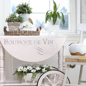 La Boutique Graphic Transfer on Pink Painted Tea Cart