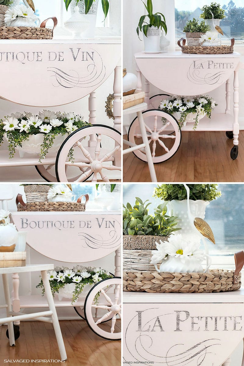 Vintage Tea Cart and French Graphic Design Drop Down Leafs
