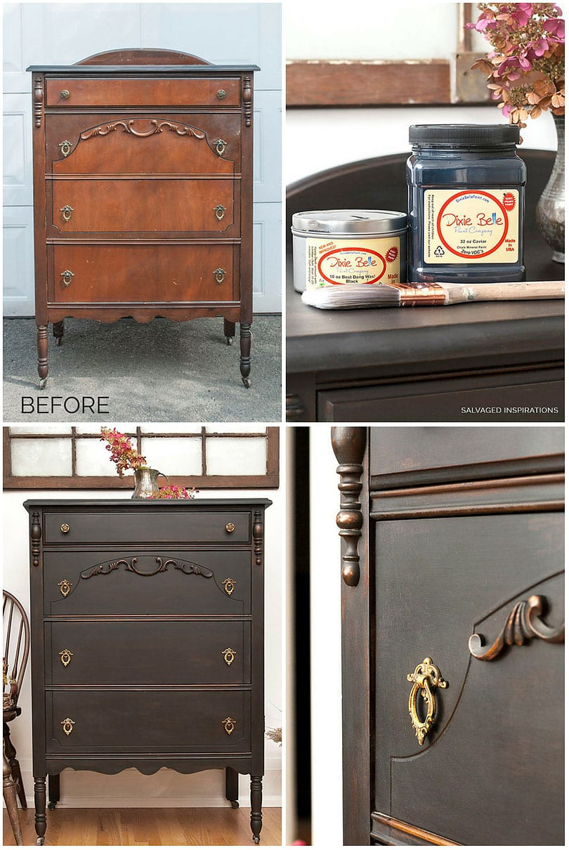 BEFORE AND AFTER VINTAGE DRESSER PAINTED IN CAVIAR