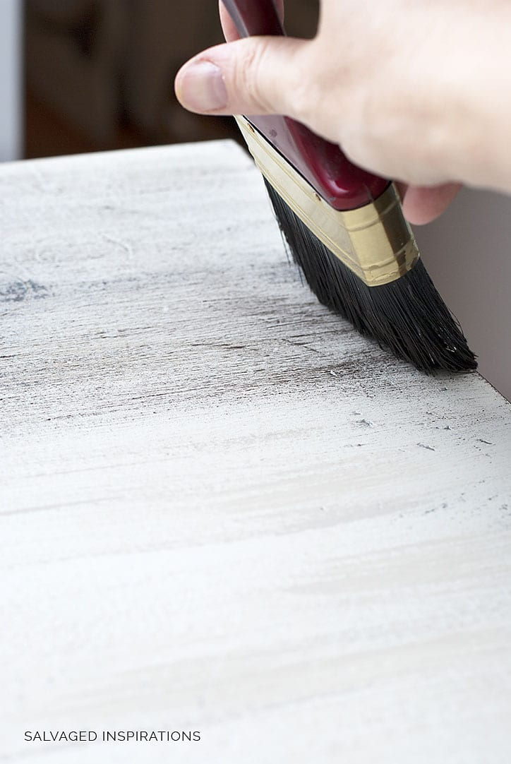 Brushing on Brown Wax for Weathered Wood