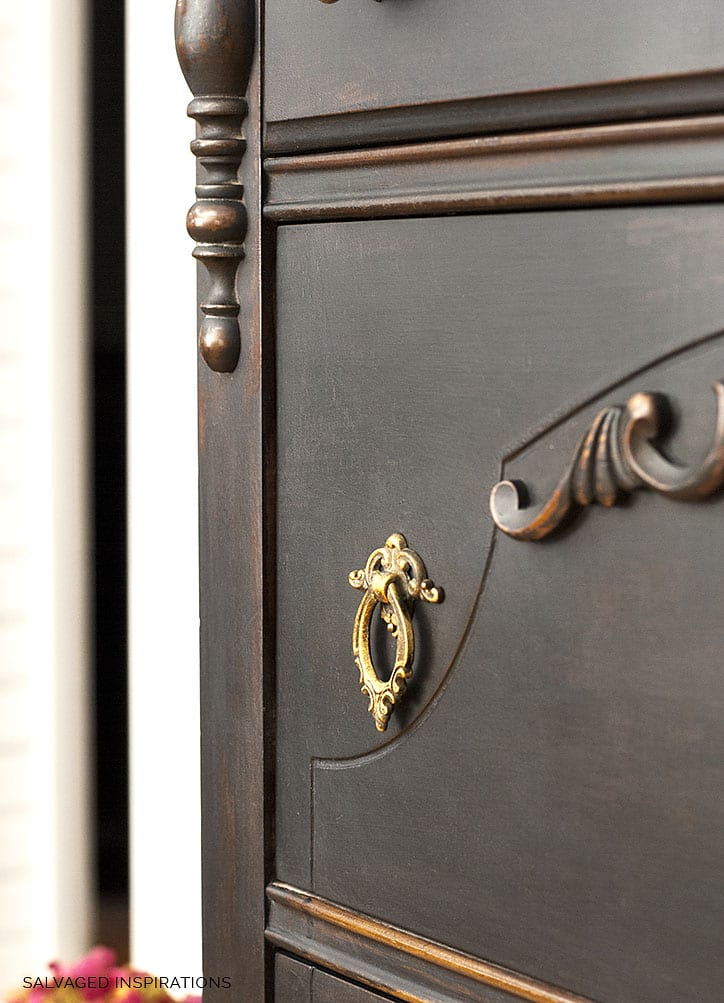 Close Up of Vintage Dresser Painted in Caviar