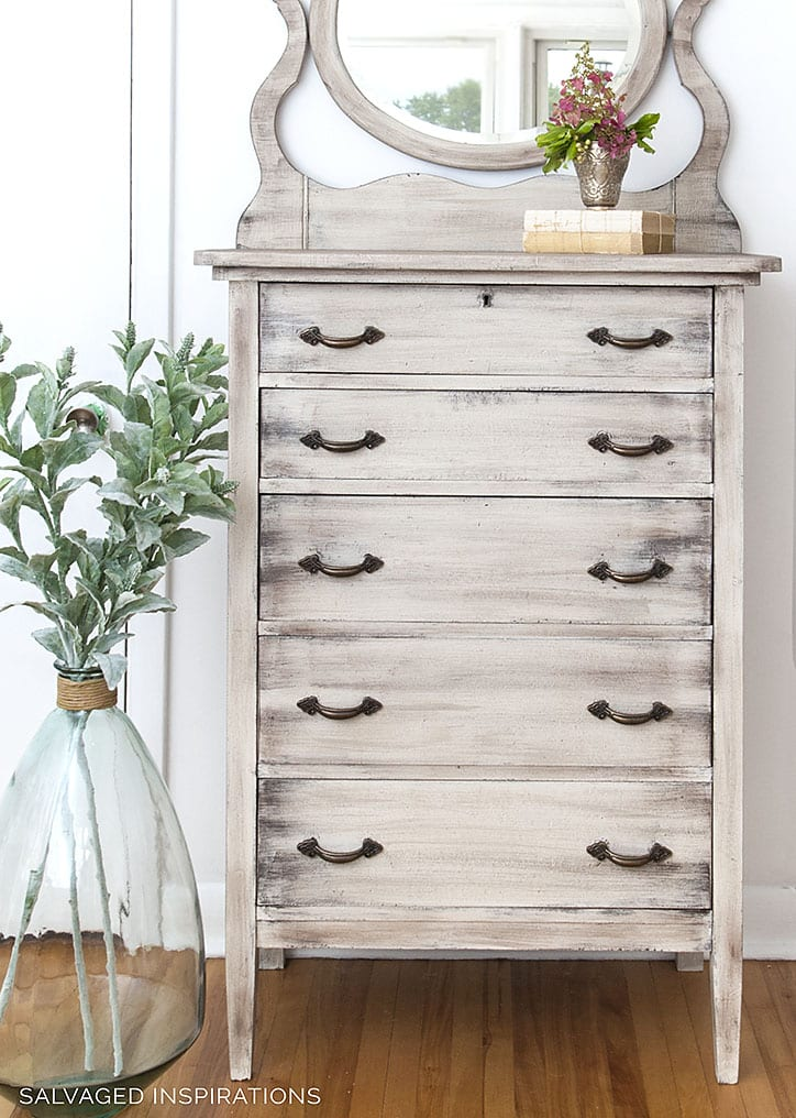 Weathered Wood Modern Farmhouse Dresser Created with Paint