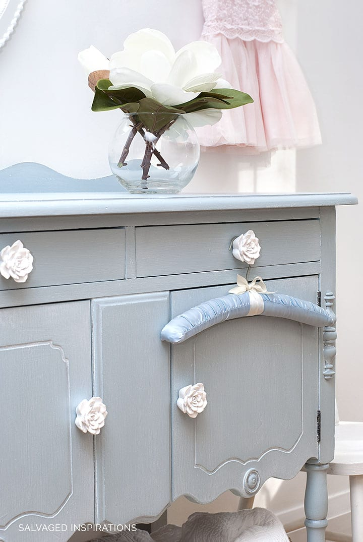 Painted Salvaged Buffet w White Floral Knobs