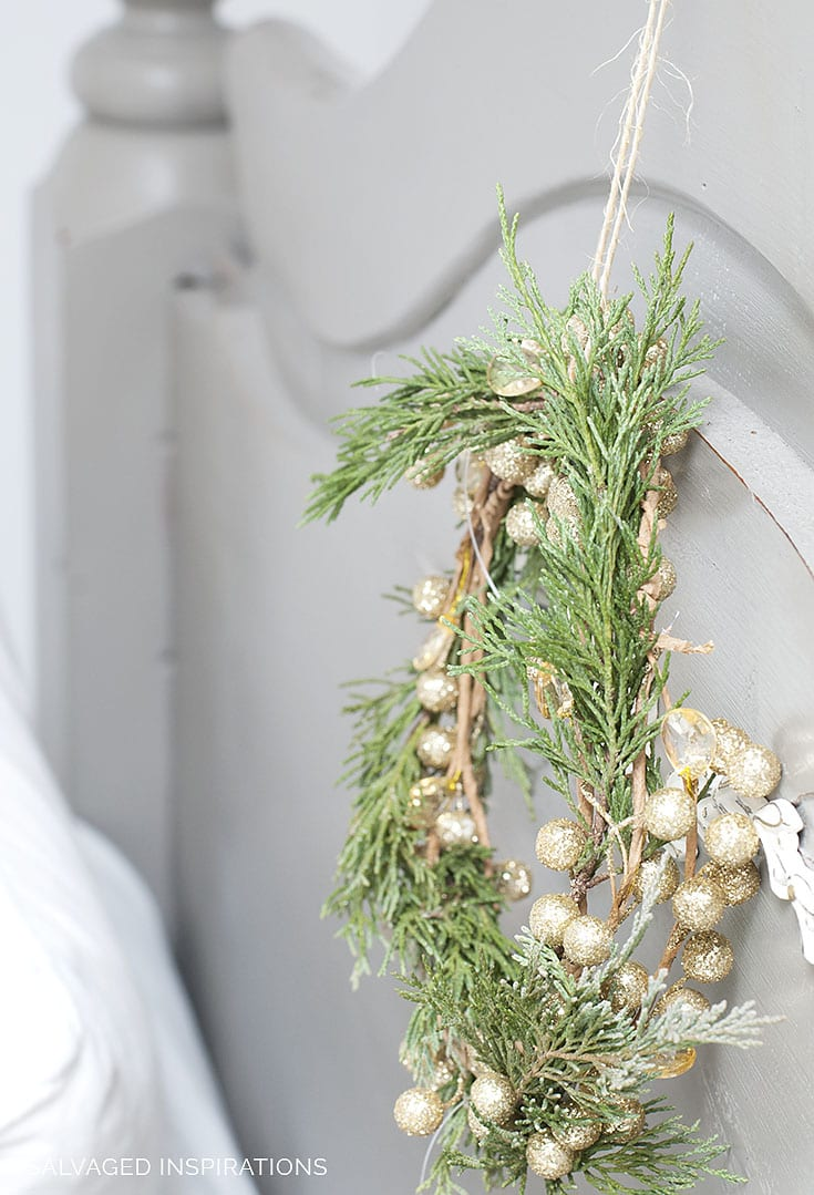 Evergreen Wreath on Headboard