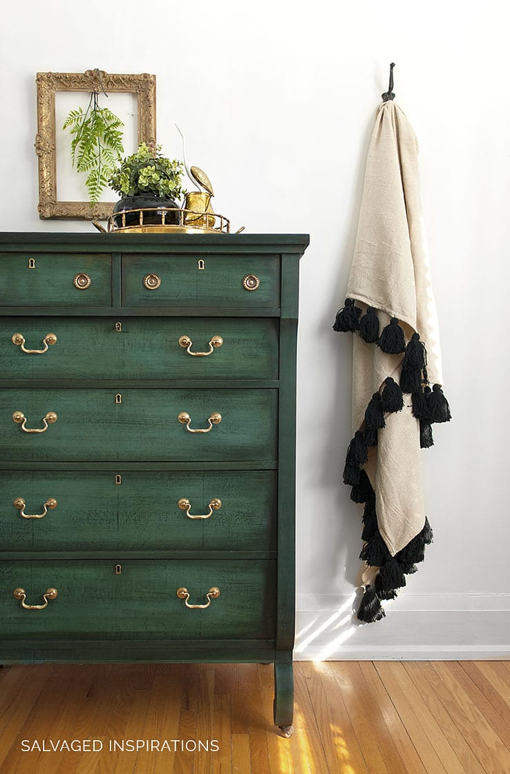 Green Chalk Painted Empire Dresser and Tassel Blanket