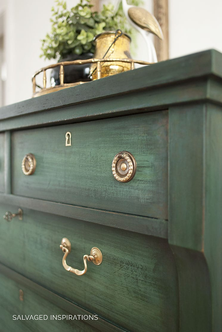 Layered Chalk Painted Empire Dresser w Brass Handles