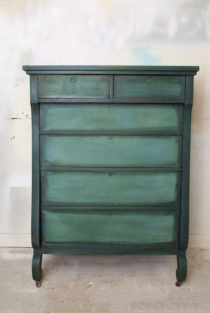 Two Tone Painted Furniture Hutch Using Black Wax On Layered Paint Dresser Makeover Salvaged Inspirations Layering Chalk Paint Salvaged Inspirations