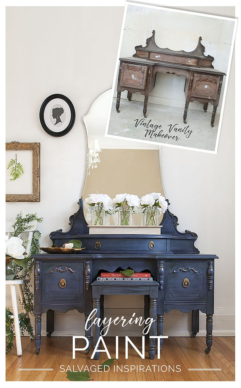 Before and After Chalk Mineral Painted Vintage Vanity - Tutorial by Salvaged Inspirations