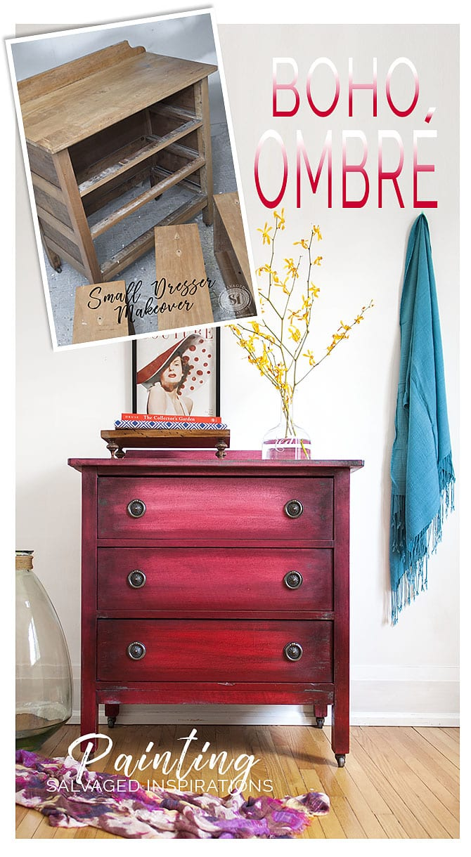 Boho Ombré Painting Effect on Small Dresser Before and After
