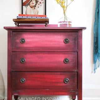 Chalk Painted Ombré Painting Effect on Small Dresser