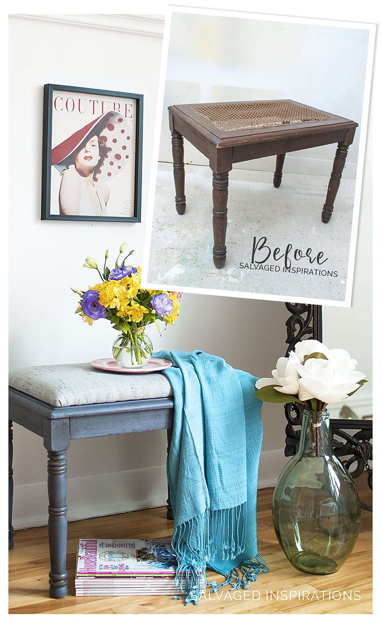 DIY Cane Bench Makeover w Upholstery Fabric Before & After