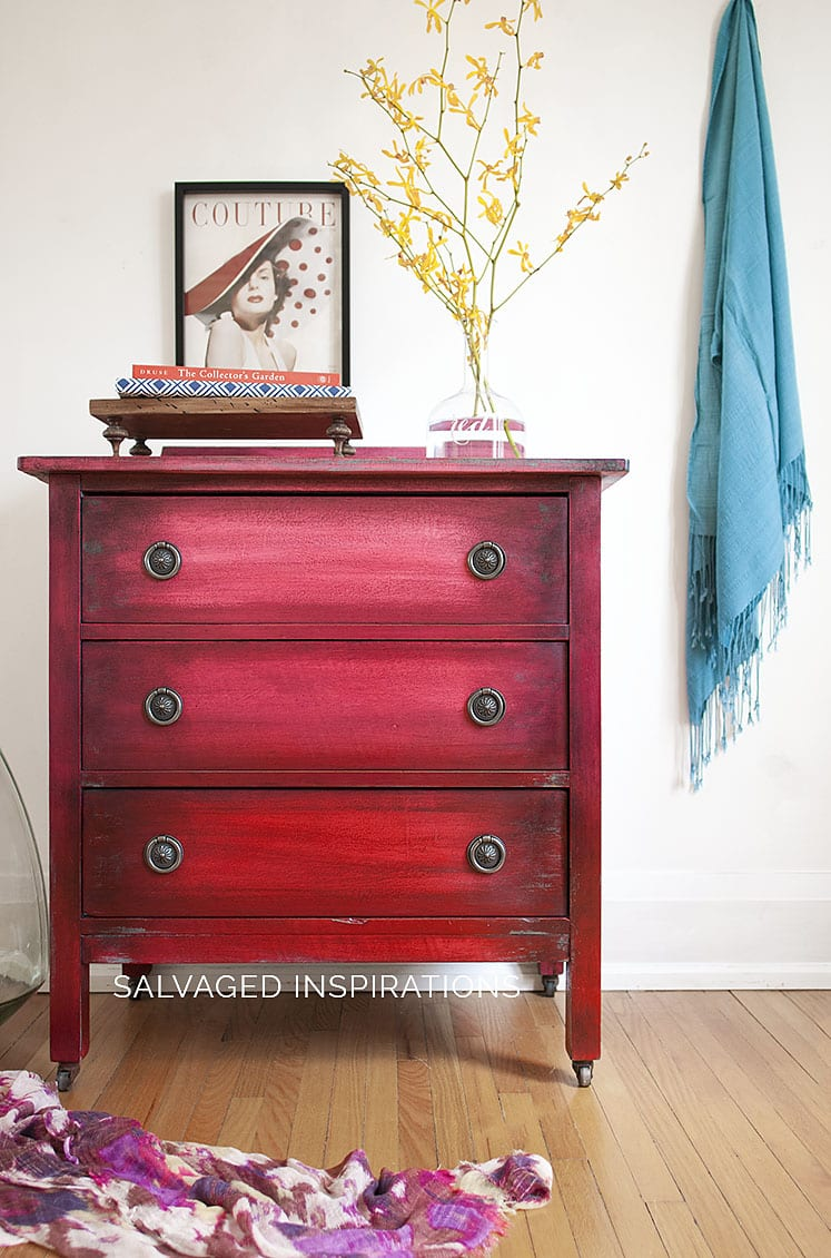 Empire Red Ombre Painted Small Dresser