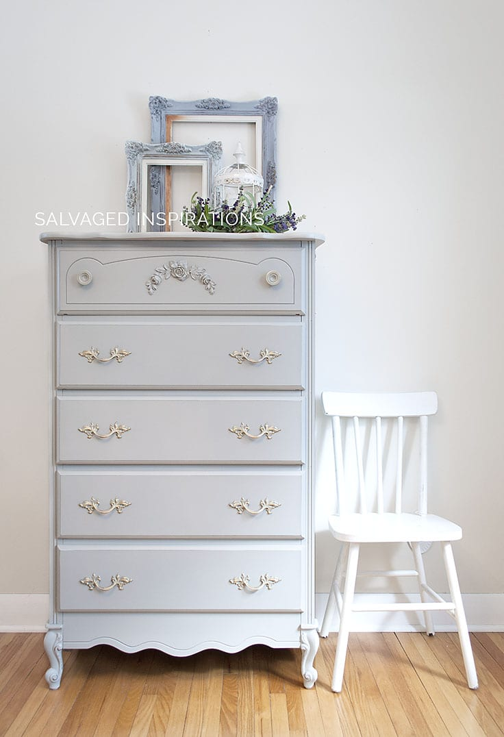 French Provincial Sprayed Dresser w Applique