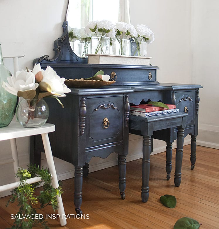 PAINTED Vintage Vanity Makeover by Salvaged Inspirations - Painted Furniture - Layered 'Stormy Seas' Vintage Vanity Makeover