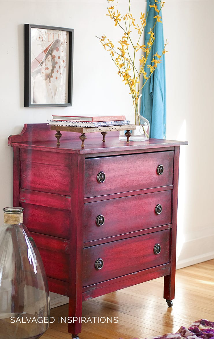 Side View of Ombre Painted Small Dresser