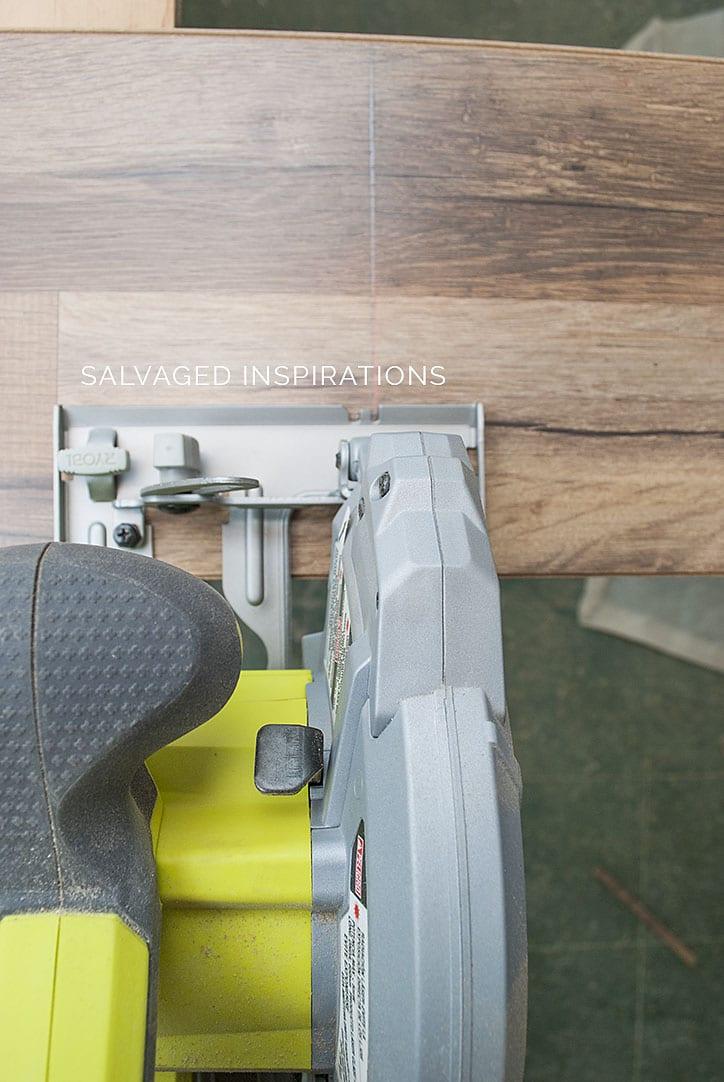Cutting Flooring for Bathroom Corner Cabinet