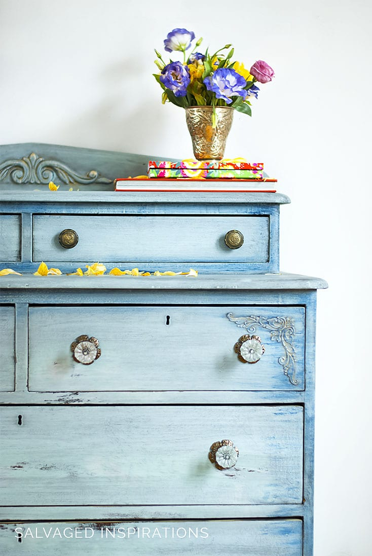Dixie Belle Paint Layered Blue Dresser Makeover