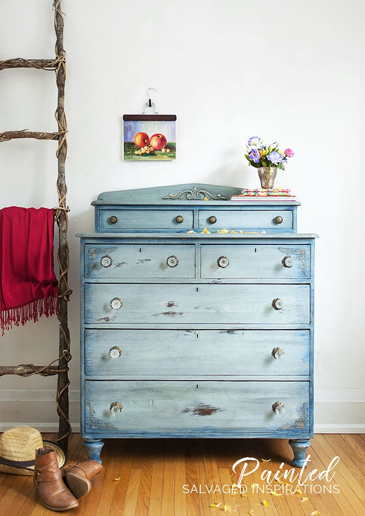 Faded Denim Inspired Painted Dresser Makeover w Dixie Belle Paint