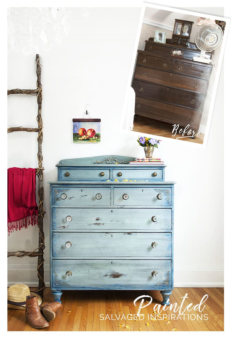 Faded Denim Inspired Painted Dresser - before & after