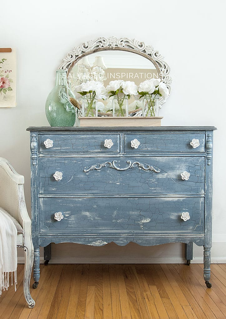 MMS Milk Painted Furniture - Crackled Dresser Makeover
