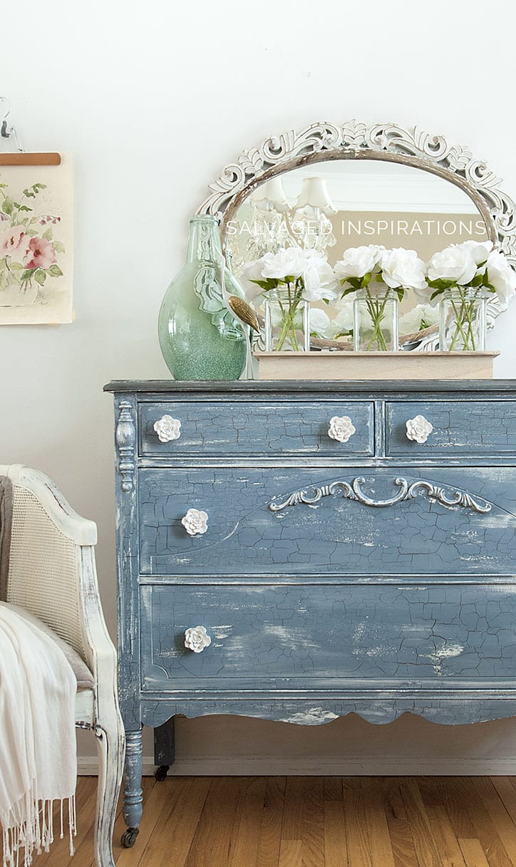 Milk Painted Furniture Violet- Crackled Dresser Makeover