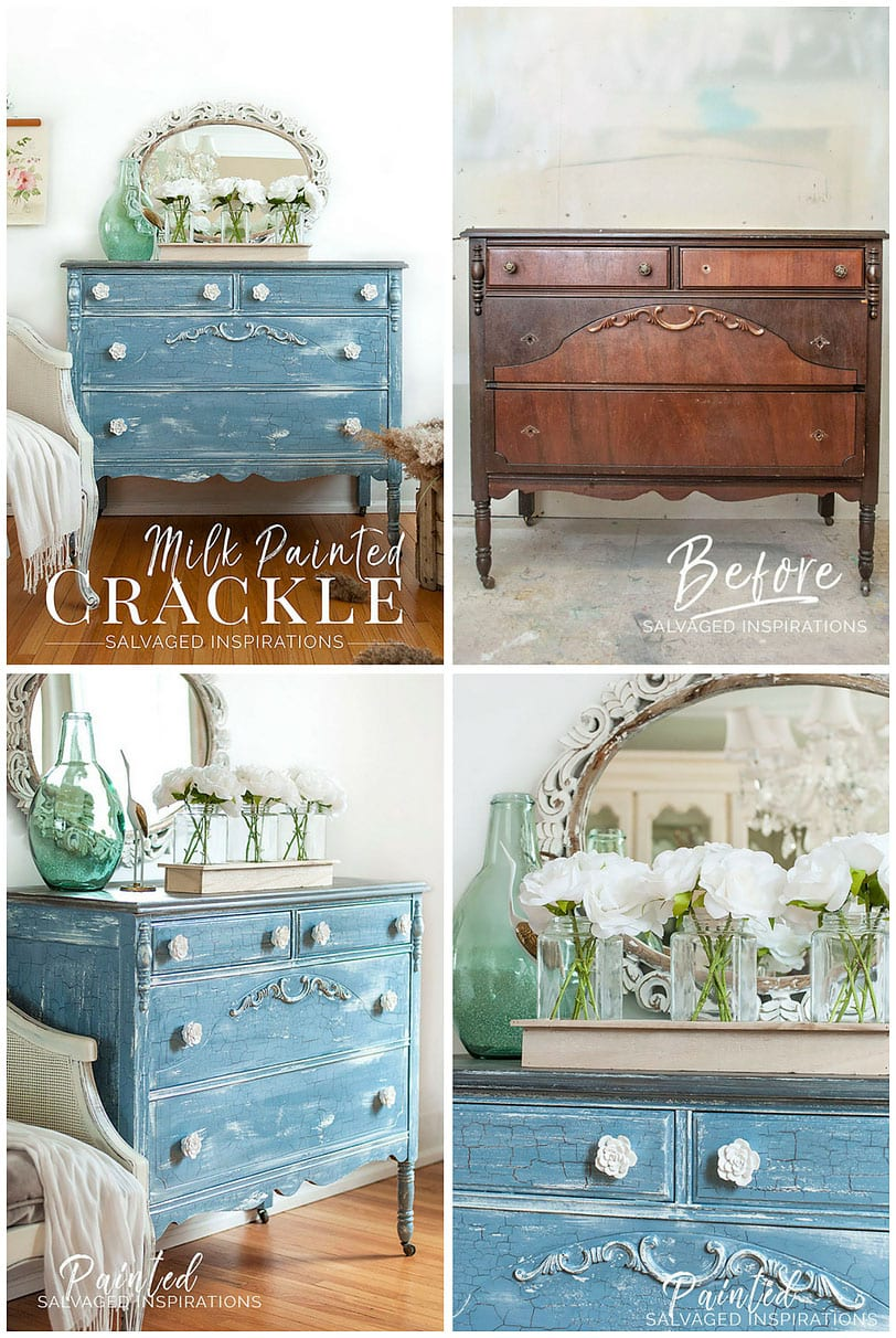Modern Farmhouse Crackle Milk Painted Dresser Collage