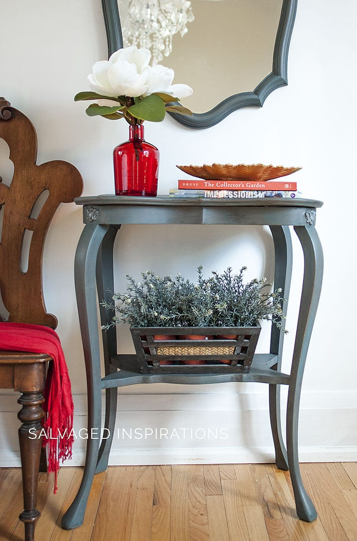 Painted Entry Table + Mirror w Small IOD Molds