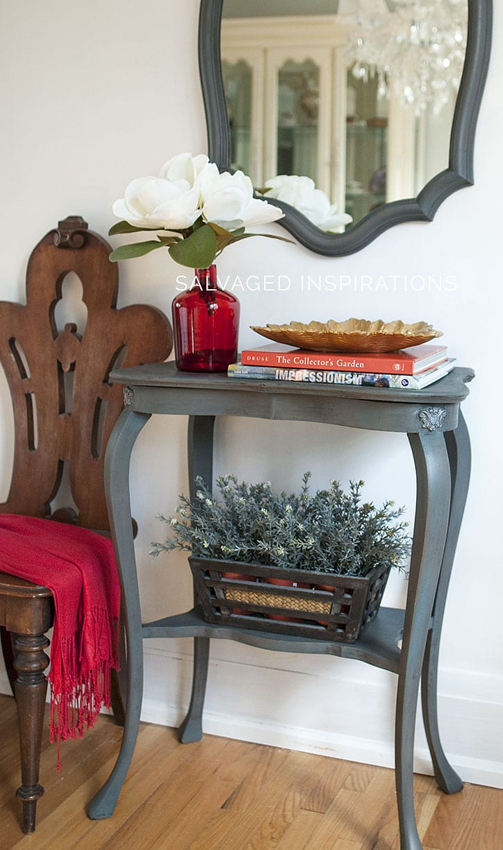 Painted Entry Table and Mirror w IOD Molds