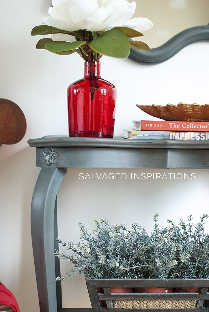 Painted Entry Table w DIY Corner Molds-Appliques